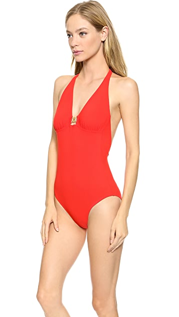 Tory Burch Logo One Piece Swimsuit