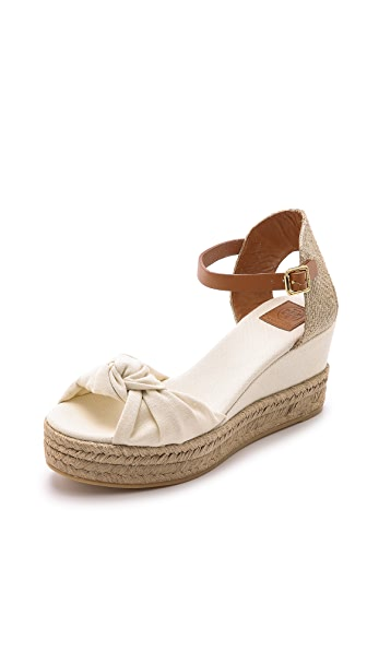 Tory Burch Knotted Bow Wedge Espadrilles