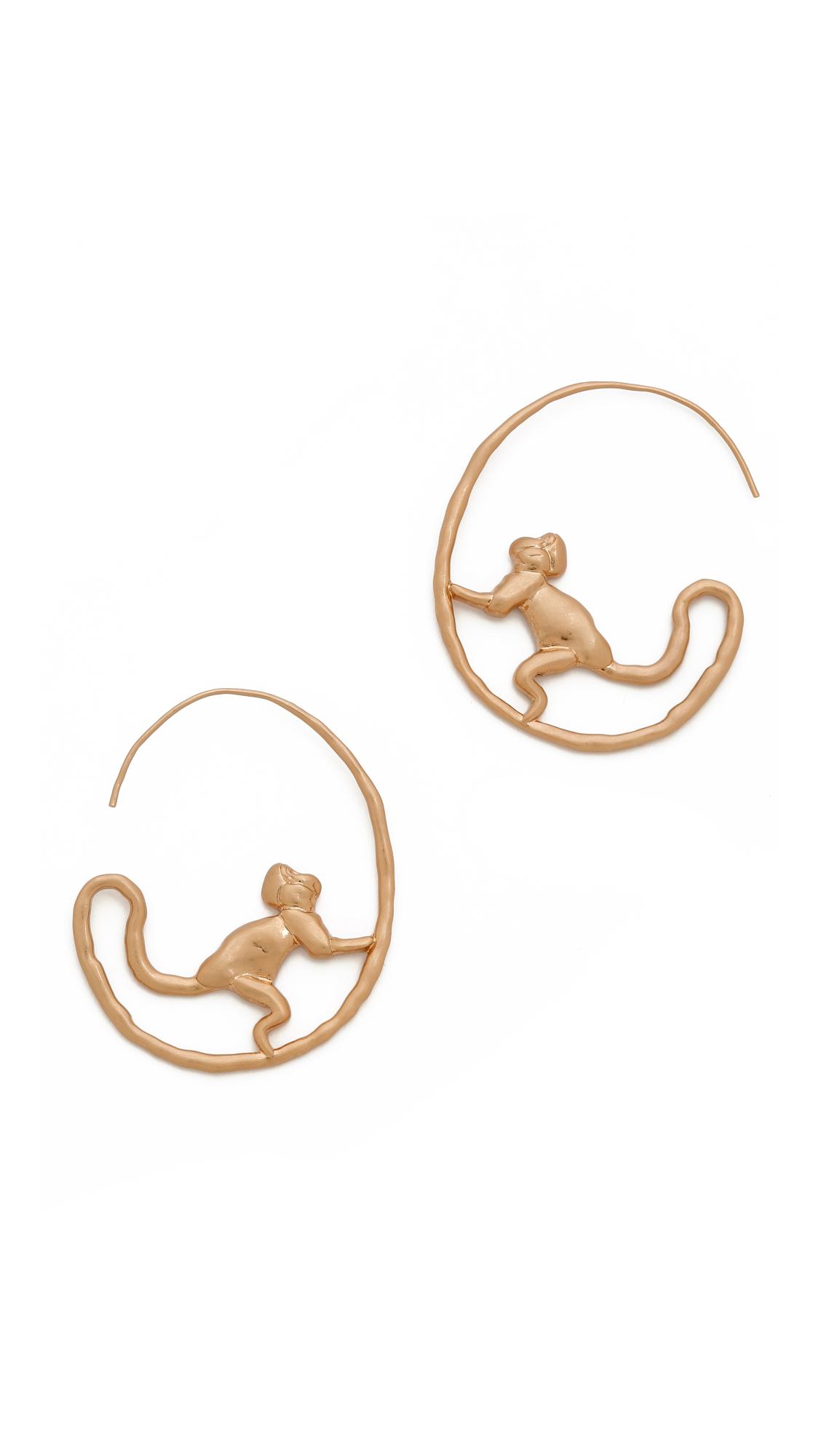 c334b99d9 Tory Burch Monkey Hoop Earrings on PopScreen