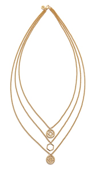 Tory Burch Perforated Charm Triple Strand Necklace