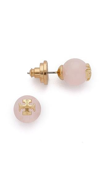 Tory Burch Rose Quartz Logo Stud Earring