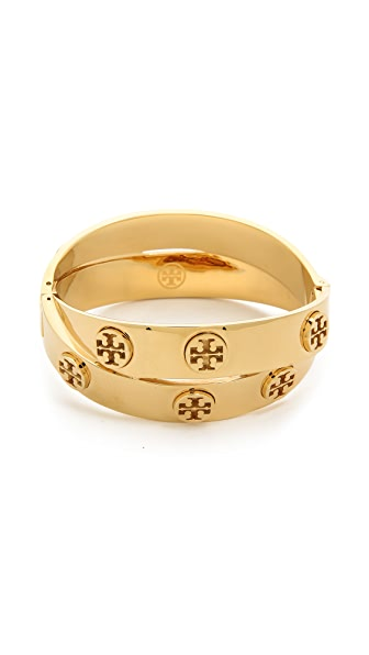 Tory Burch Metal Logo Double Wrap Bracelet