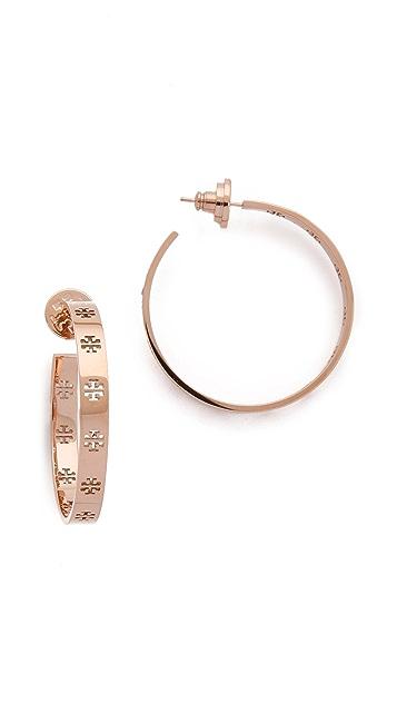 Tory Burch Pierced T Hoop Earrings