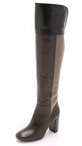 Tory Burch Bowie Over The Knee Boots - Coconut/Fango/Black