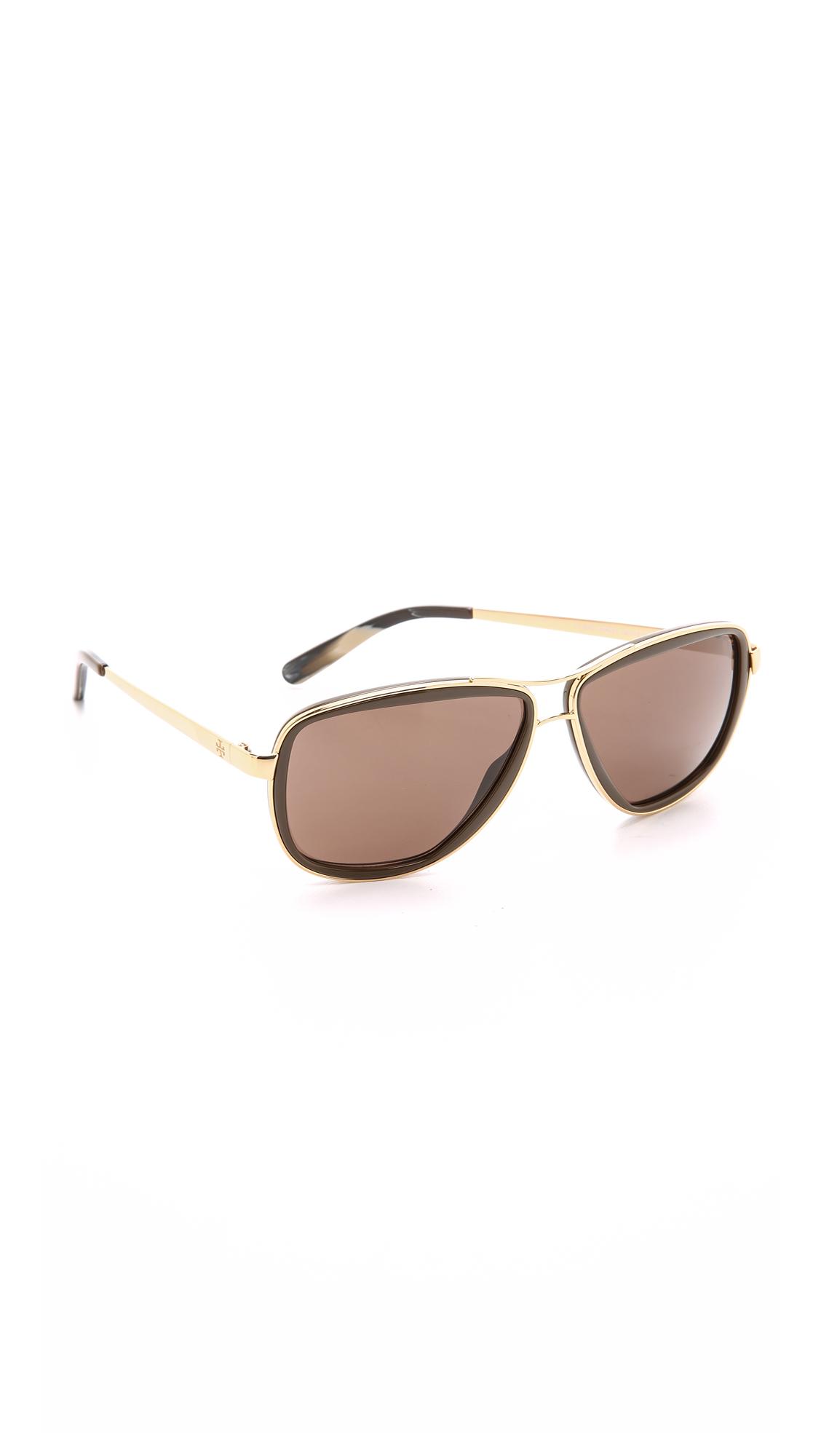 Tory Burch Modern Stacked Sunglasses - Gold Brown/Smoke