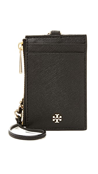 Tory Burch Robinson Lanyard Card Case - Black