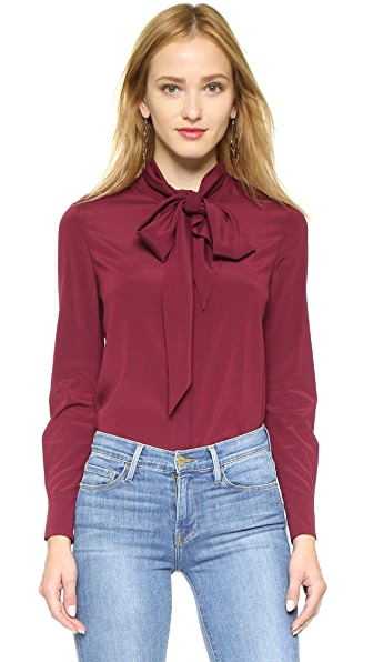 Tory Burch Stretch Silk Tie Shirt - Red Agate