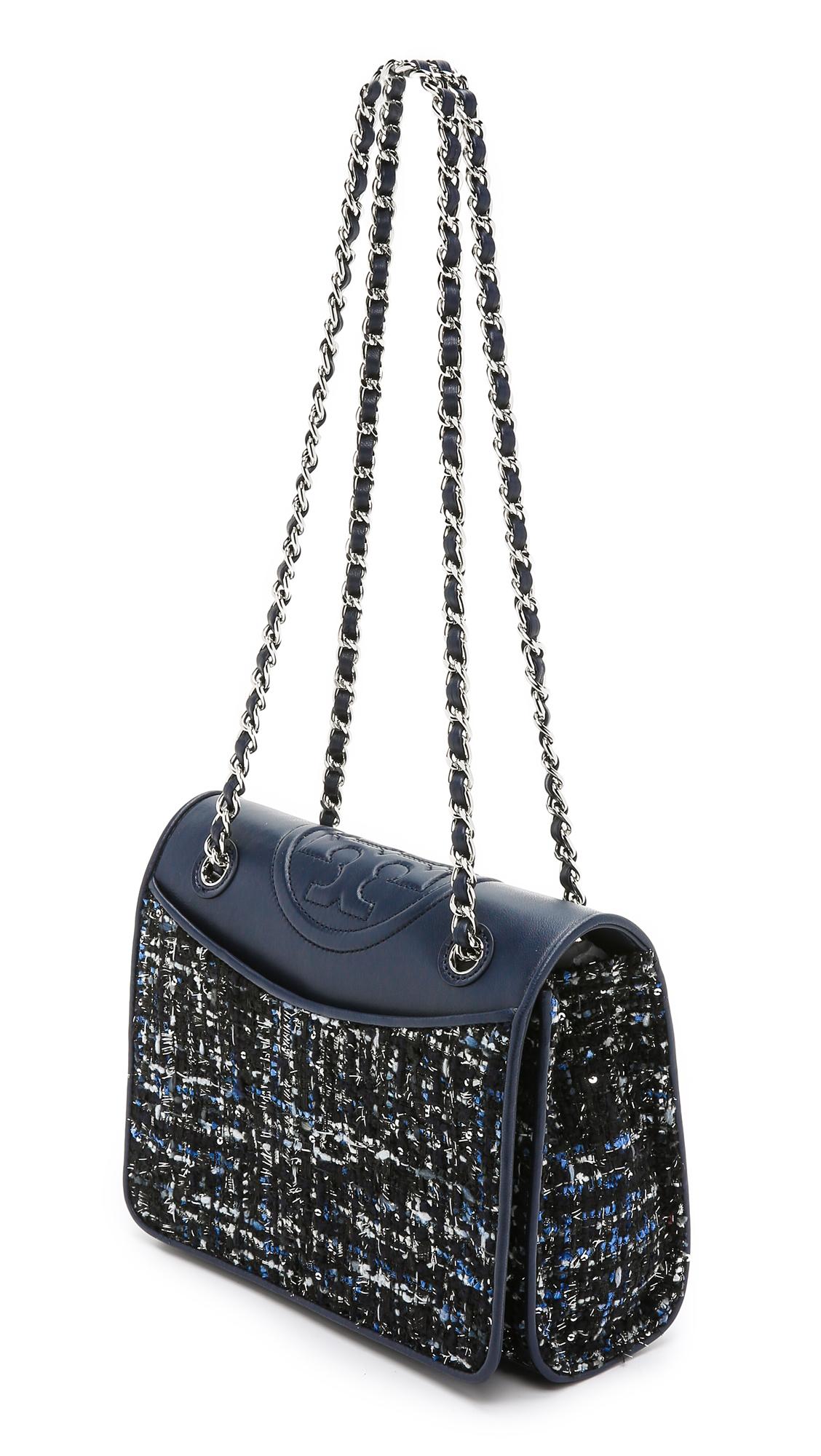 61c8e80a6aee Tory Burch Marion Tweed Medium Fleming Bag