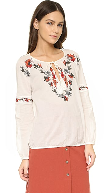 Tory Burch Embroidered Peasant Top