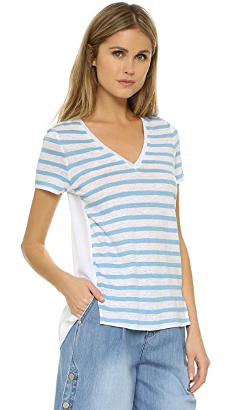 Tory Burch T-Shirt With Woven Back - Splash Sable Stripe