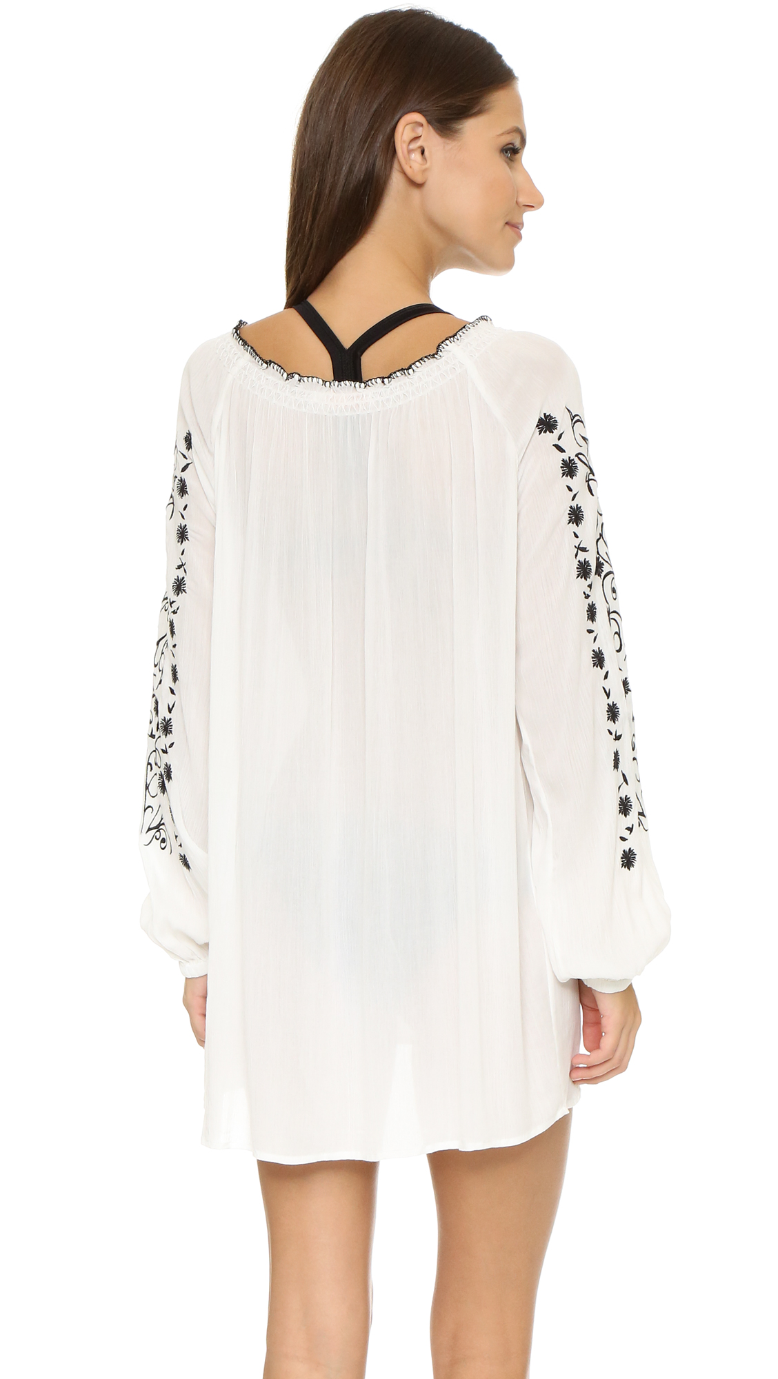 ffbb40119 Tory Burch Embroidered Crinkle Gauze Top