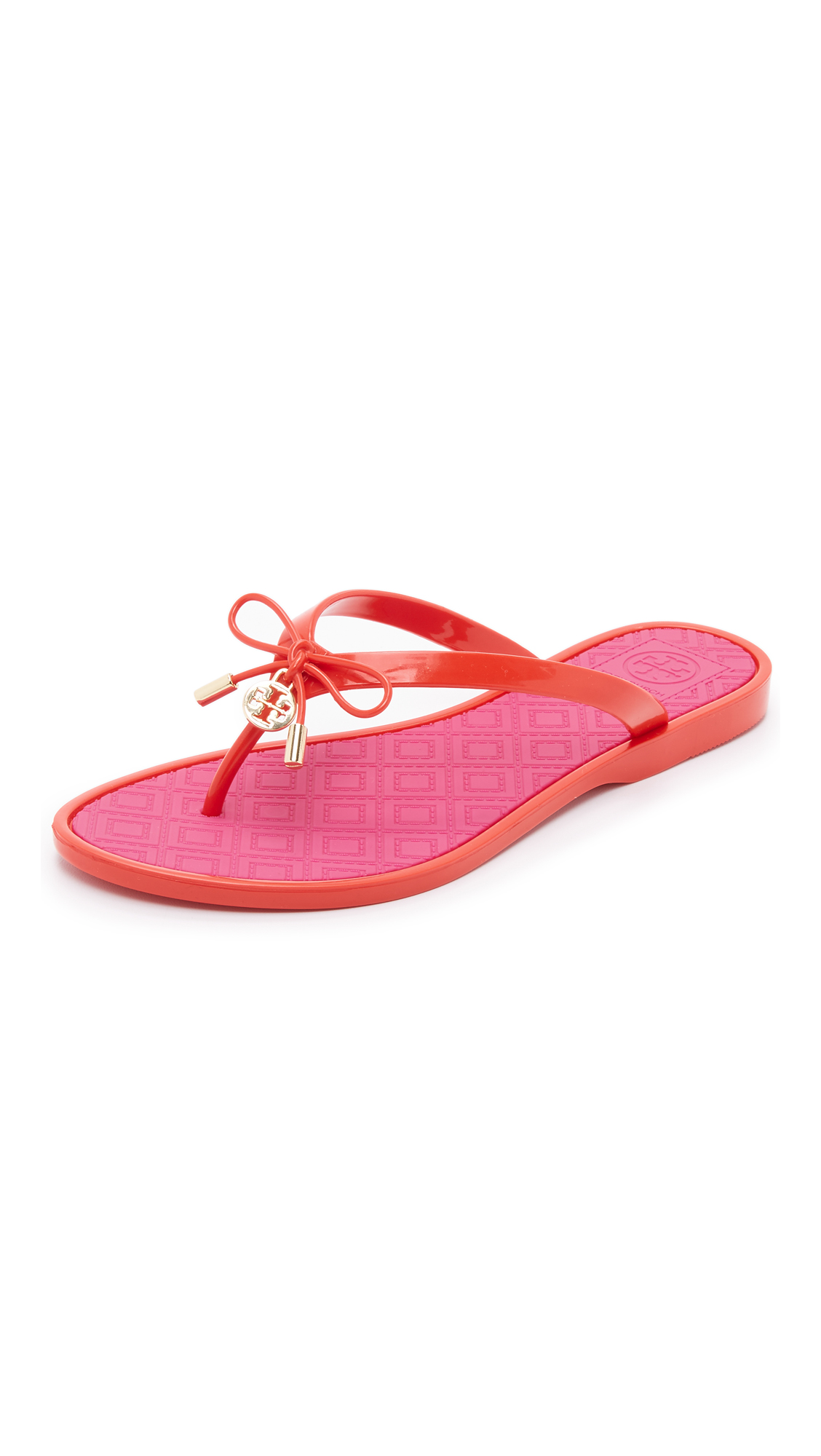 5e0b8a25d333 Tory Burch Two Tone Jelly Bow Thong Sandals
