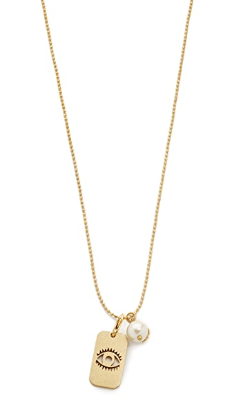 Tory burch evil eye charm dog tag necklace shopbop for Tory burch jewelry amazon