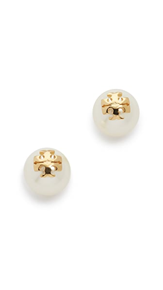 Tory Burch Swarovski Imitation Pearl Stud Earrings - Ivory/Shiny Gold