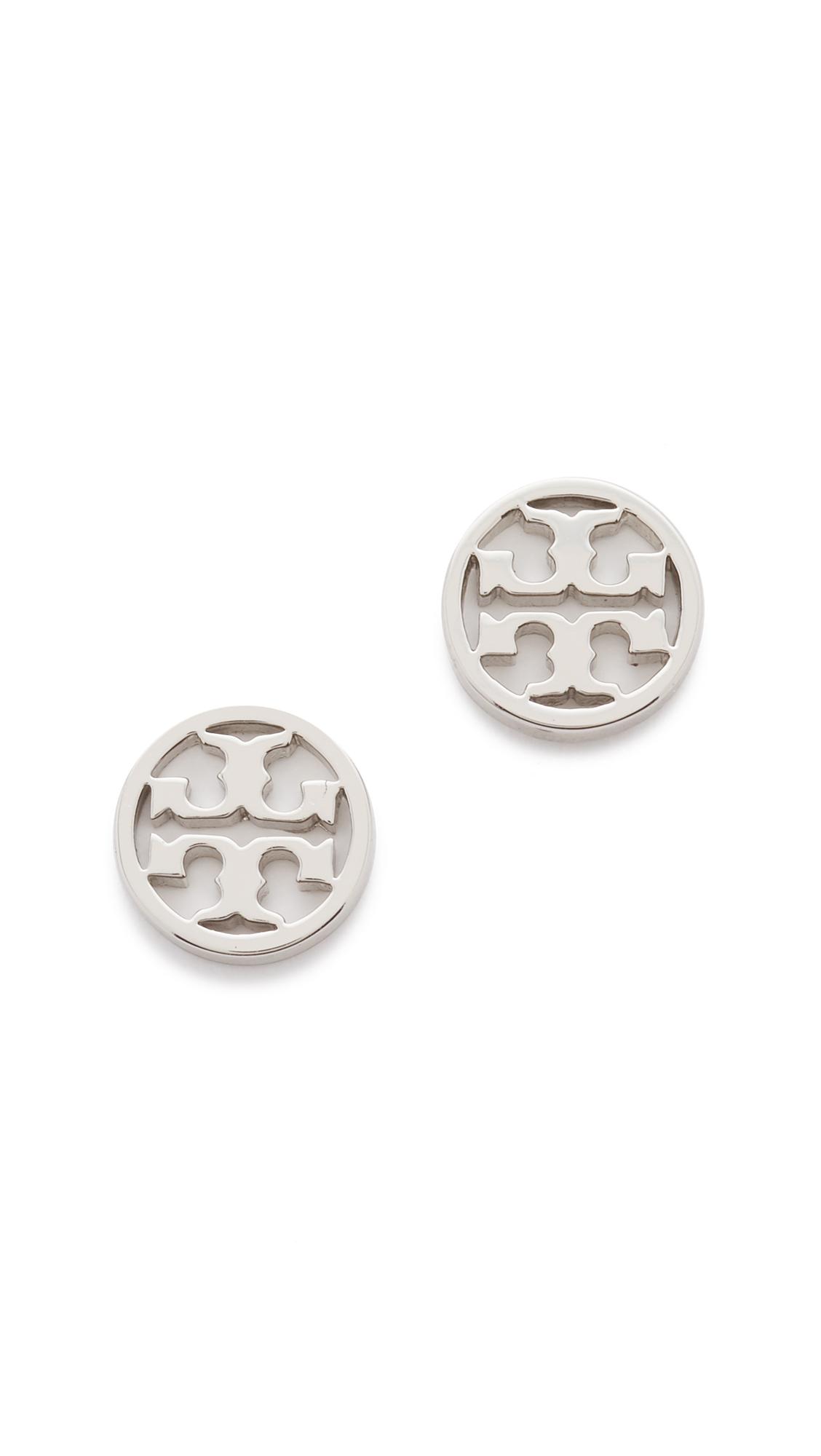 토리버치 로고 귀걸이 Tory Burch Logo Circle Stud Earrings, Tory Silver