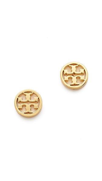 Tory Burch Logo Circle Stud Earrings - Shiny Gold