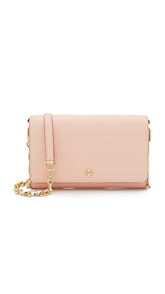 Tory Burch Robinson Chain Wallet - Pale Apricot