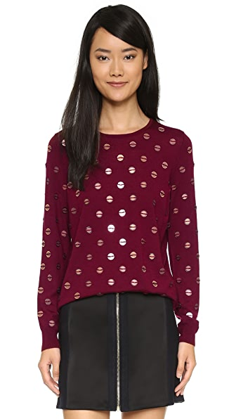 Tory Burch Embellished Crew Neck Sweater - Red Agate