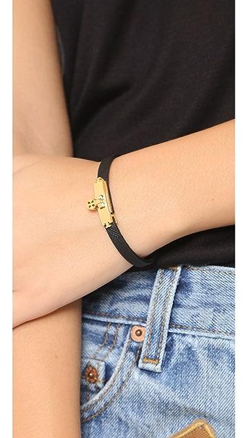 Tory Burch Skinny Lock Leather Bracelet