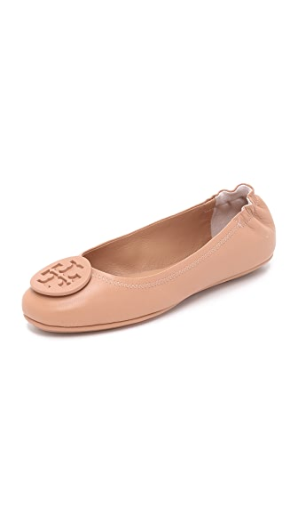 Tory Burch Minnie Travel Ballet Flats - Light Oak
