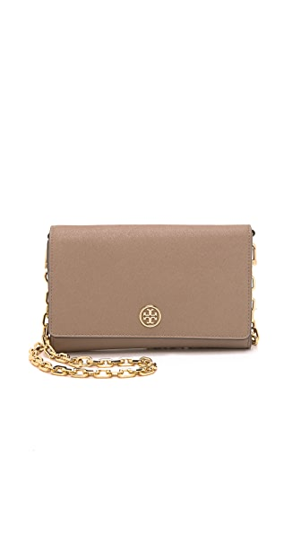 Tory Burch Robinson Chain Wallet - French Grey
