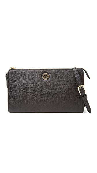 Tory Burch Robinson Pebbled Cross Body Wallet - Black