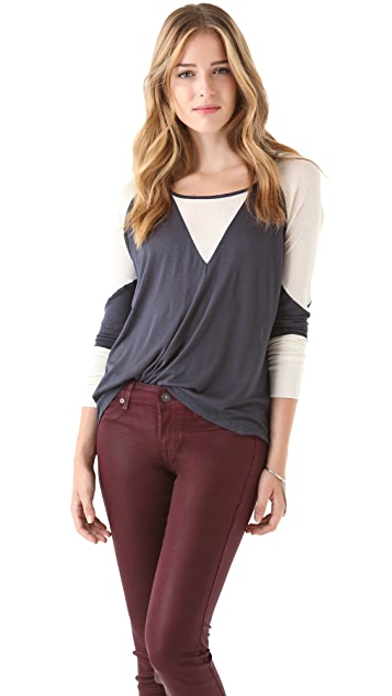 Townsen Rib-Combo Long Sleeve Top