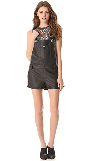 Townsen Faux Leather Overalls