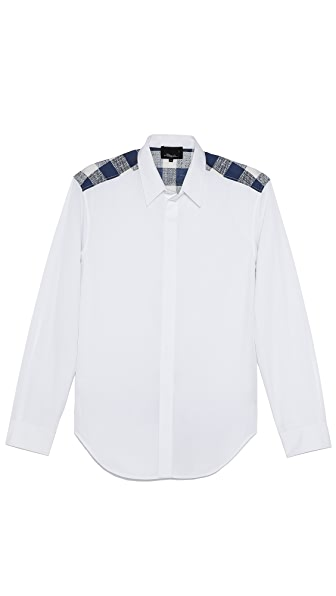 3.1 Phillip Lim Button Up Shirt with Checked Panel