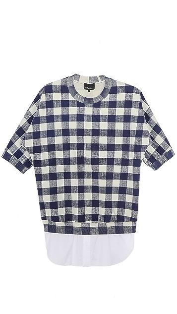 3.1 Phillip Lim Dolman Sleeve Pullover with Poplin Shirttail