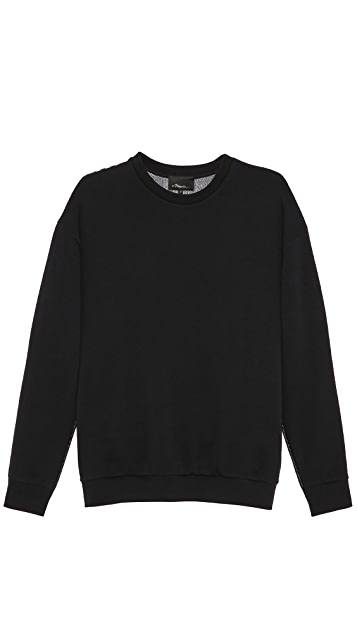 3.1 Phillip Lim Long Sleeve Pullover with Knit Back Panel