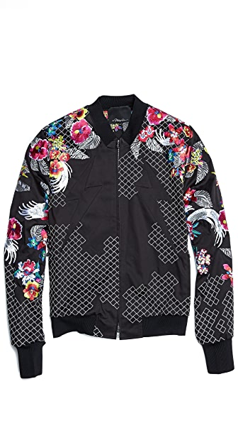 3.1 Phillip Lim Embroidered Harrington Jacket with Lightning Panel