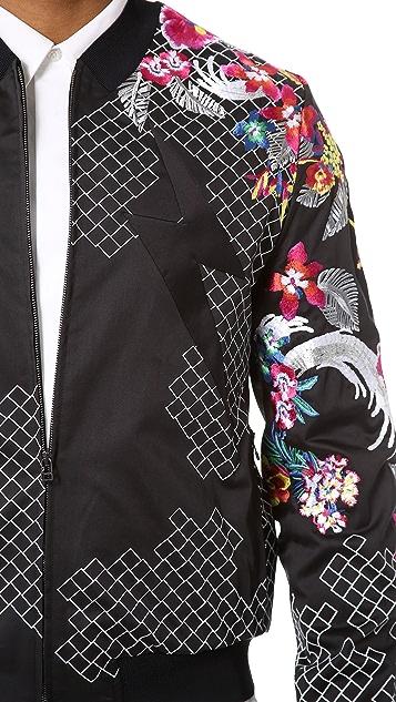 3.1 Phillip Lim Embroidered Harrington Jacket with Lightning Panel