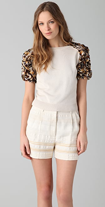 Tribune Standard Carnation Encrusted Sweater