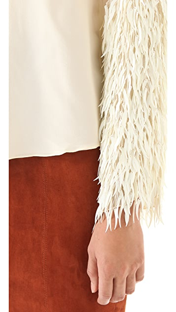 Tribune Standard Feather Sequin Bell Sleeve Top