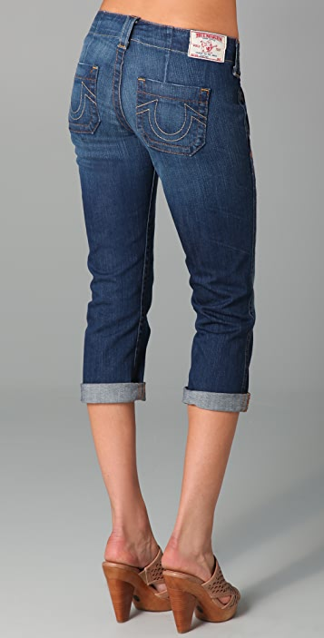 True Religion Courtney Cropped Straight Leg Jeans