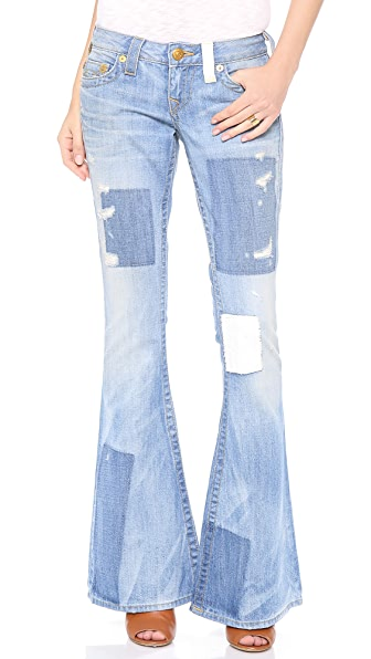 True Religion Carrie Patchwork Flare Jeans | 15% off first app ...