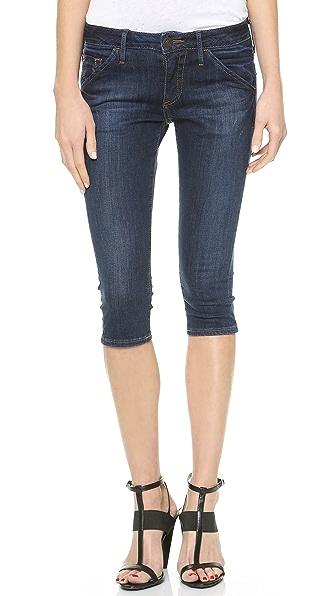 True Religion Tawny Mid Rise Skinny Crop Shorts