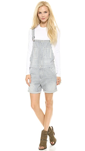 True Religion Molly Rolled Short Overalls