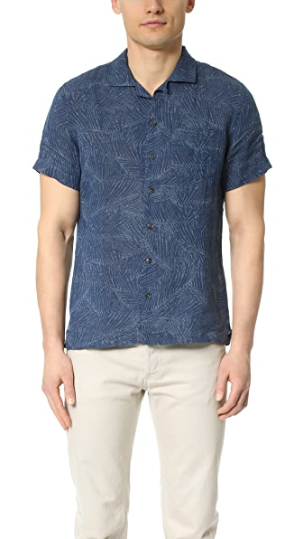 Todd Snyder Convertible Collar Printed Short Sleeve Shirt