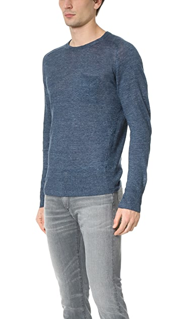 Todd Snyder Saddle Pocket Linen Crew Sweater