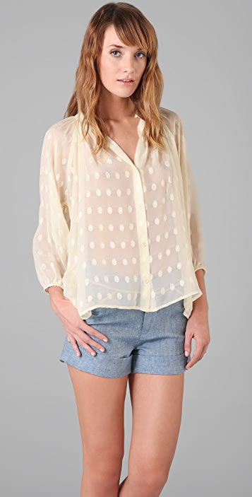 Tucker Smocked Collar Blouse