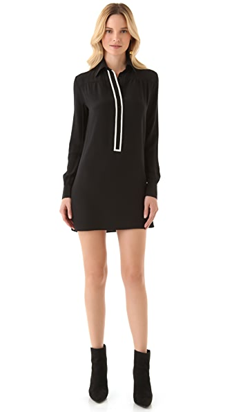 Tucker Collared Placket Tunic Dress