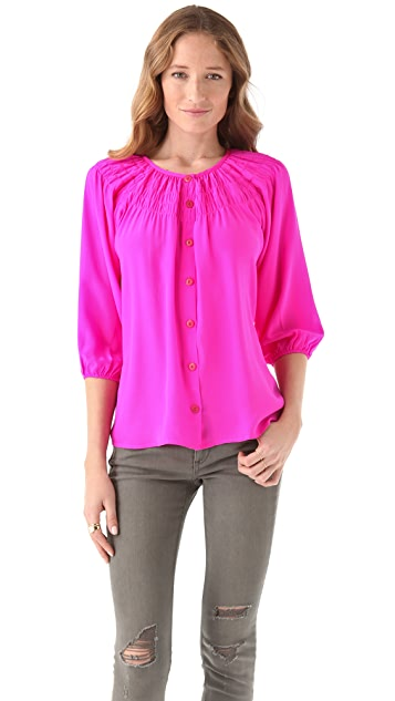 Tucker Wide Yoke Smoked Blouse