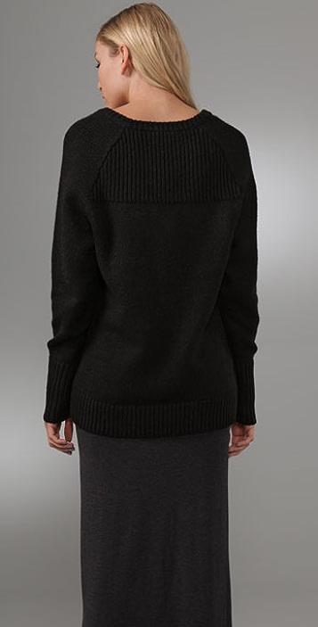 T by Alexander Wang V Neck Grandpa Sweater