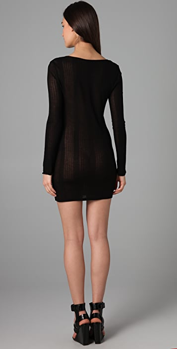 T by Alexander Wang Tencel Variegated Rib Dress