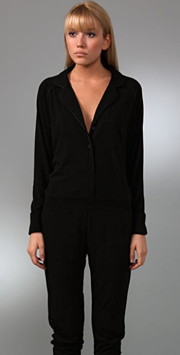T by Alexander Wang Leather Trim Jumpsuit