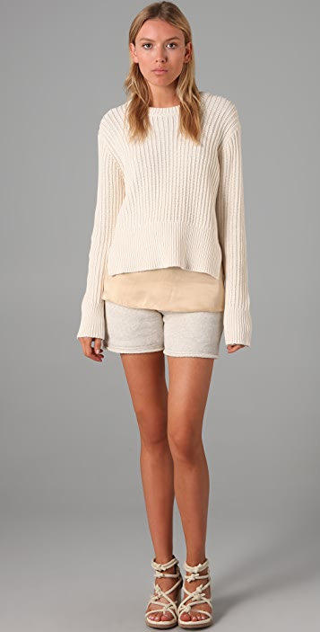 T by Alexander Wang Chunky 2x1 Ribbed Pullover