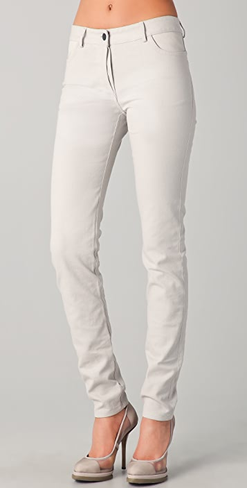T by Alexander Wang Skinny Jeans with Leather Yoke