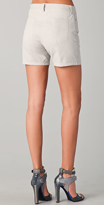 T by Alexander Wang Jean Shorts with Leather Yoke